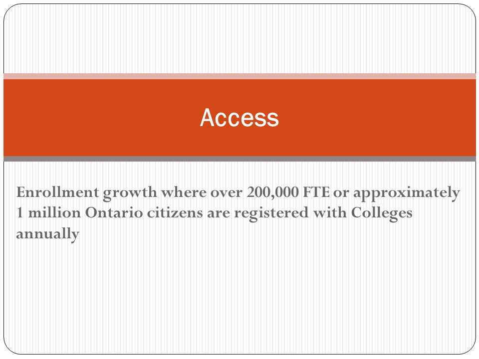 Enrollment growth where over 200,000 FTE or approximately 1 million Ontario citizens are registered with Colleges annually Access