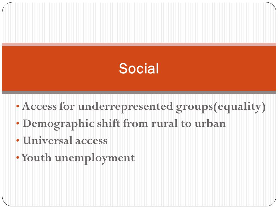 Access for underrepresented groups(equality) Demographic shift from rural to urban Universal access Youth unemployment Social