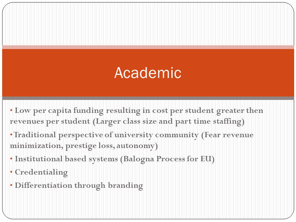 Low per capita funding resulting in cost per student greater then revenues per student (Larger class size and part time staffing) Traditional perspective of university community (Fear revenue minimization, prestige loss, autonomy) Institutional based systems (Balogna Process for EU) Credentialing Differentiation through branding Academic