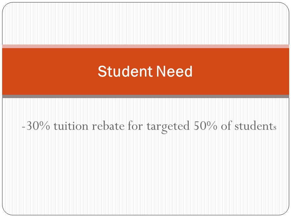 -30% tuition rebate for targeted 50% of student s Student Need