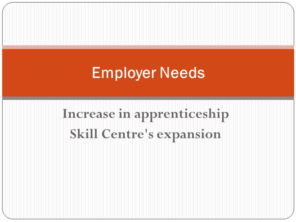Increase in apprenticeship Skill Centre s expansion Employer Needs