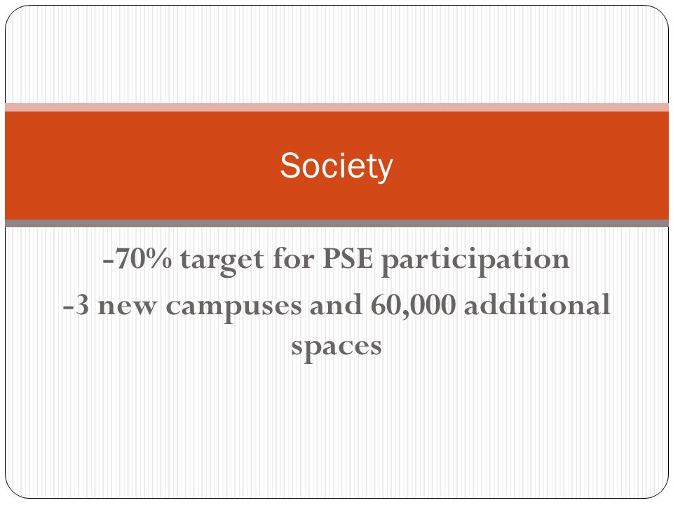 -70% target for PSE participation -3 new campuses and 60,000 additional spaces Society