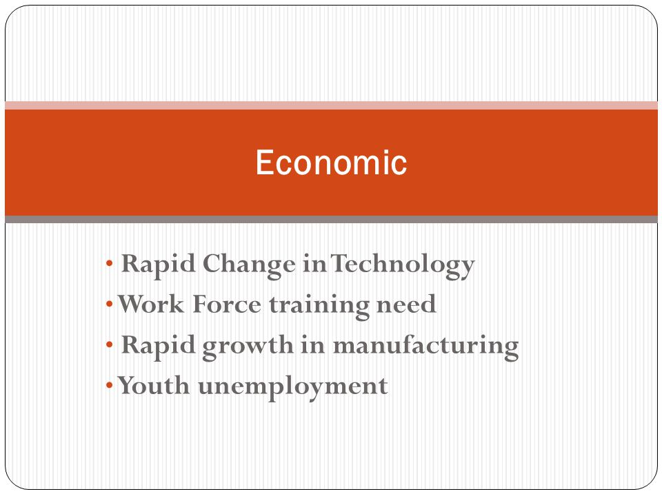 Rapid Change in Technology Work Force training need Rapid growth in manufacturing Youth unemployment Economic