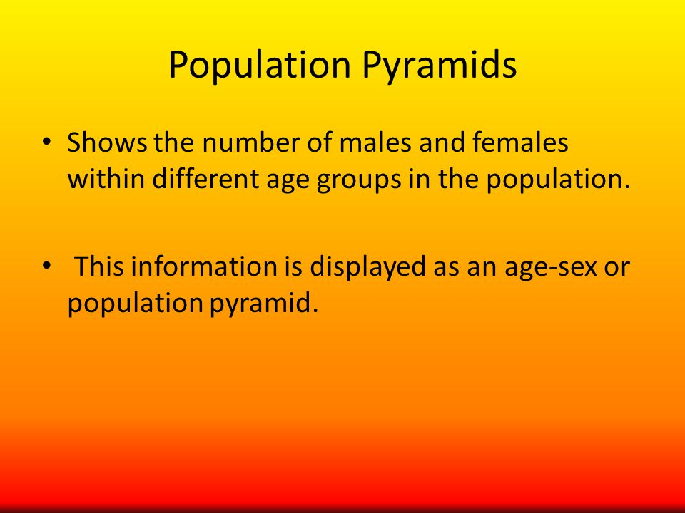 Population Pyramids Shows the number of males and females within different age groups in the population.