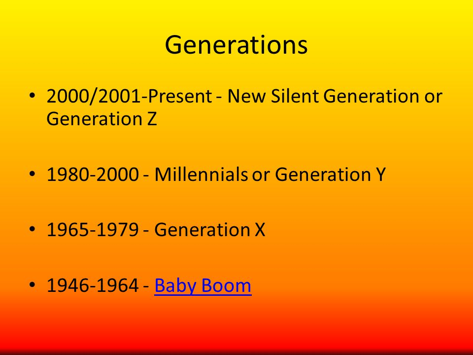 Generations 2000/2001-Present - New Silent Generation or Generation Z Millennials or Generation Y Generation X Baby BoomBaby Boom