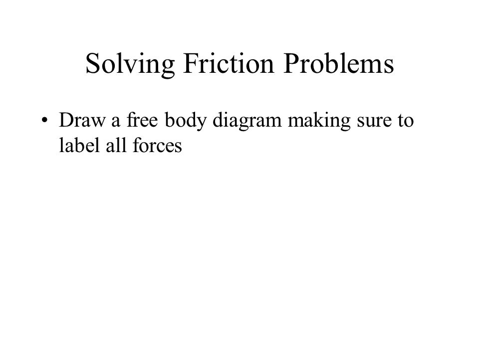 Solving Friction Problems Draw a free body diagram making sure to label all forces