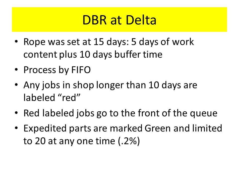DBR at Delta Rope was set at 15 days: 5 days of work content plus 10 days buffer time Process by FIFO Any jobs in shop longer than 10 days are labeled red Red labeled jobs go to the front of the queue Expedited parts are marked Green and limited to 20 at any one time (.2%)