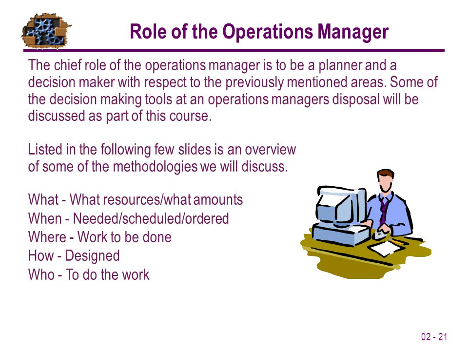 what is the chief role of the operations manager
