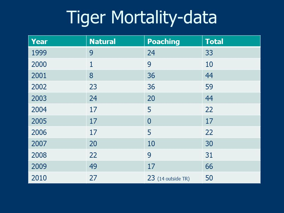 Tiger Mortality-data YearNaturalPoachingTotal 199992433 20001910 200183644 2002233659 2003242044 200417522 2005170 200617522 2007201030 200822931 2009491766 20102723 (14 outside TR) 50
