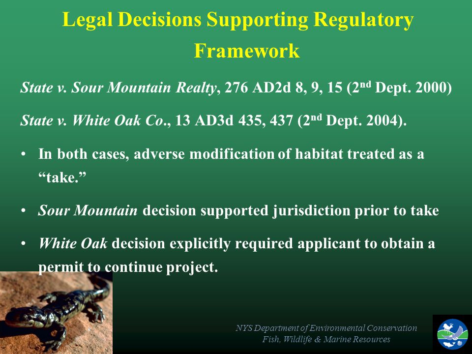 NYS Department of Environmental Conservation Fish, Wildlife & Marine Resources Legal Decisions Supporting Regulatory Framework State v.