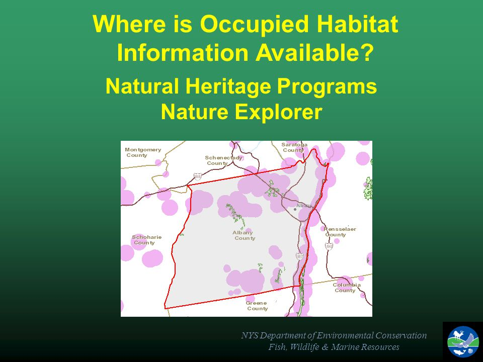 NYS Department of Environmental Conservation Fish, Wildlife & Marine Resources Natural Heritage Programs Nature Explorer Where is Occupied Habitat Information Available