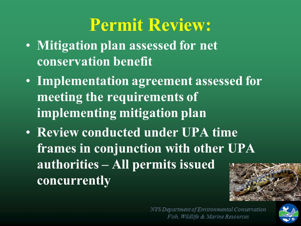 NYS Department of Environmental Conservation Fish, Wildlife & Marine Resources Permit Review: Mitigation plan assessed for net conservation benefit Implementation agreement assessed for meeting the requirements of implementing mitigation plan Review conducted under UPA time frames in conjunction with other UPA authorities – All permits issued concurrently