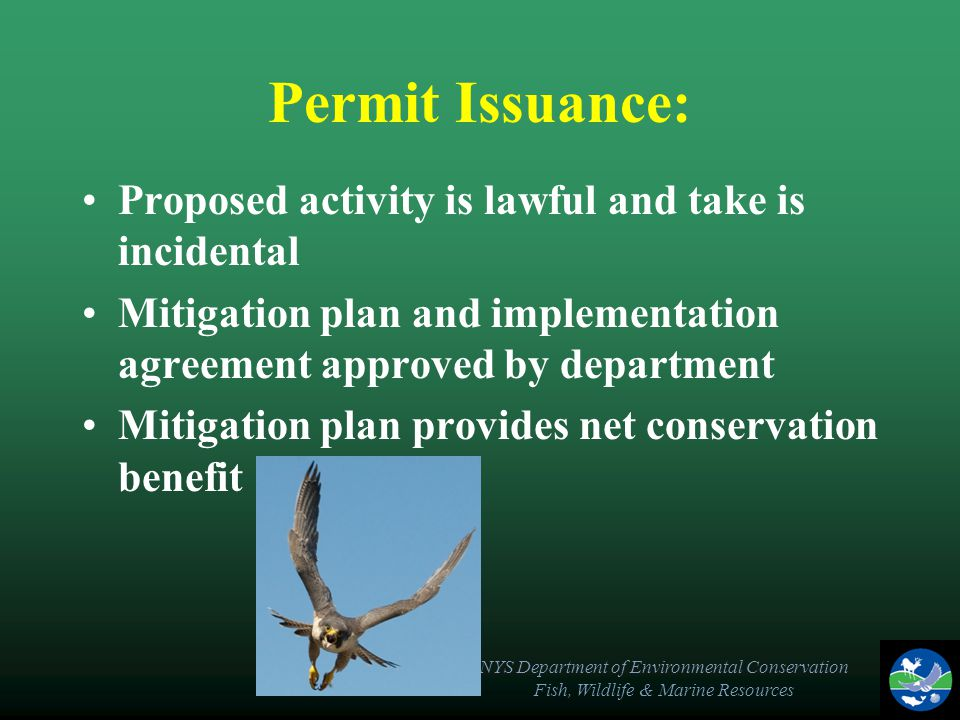 NYS Department of Environmental Conservation Fish, Wildlife & Marine Resources Permit Issuance: Proposed activity is lawful and take is incidental Mitigation plan and implementation agreement approved by department Mitigation plan provides net conservation benefit