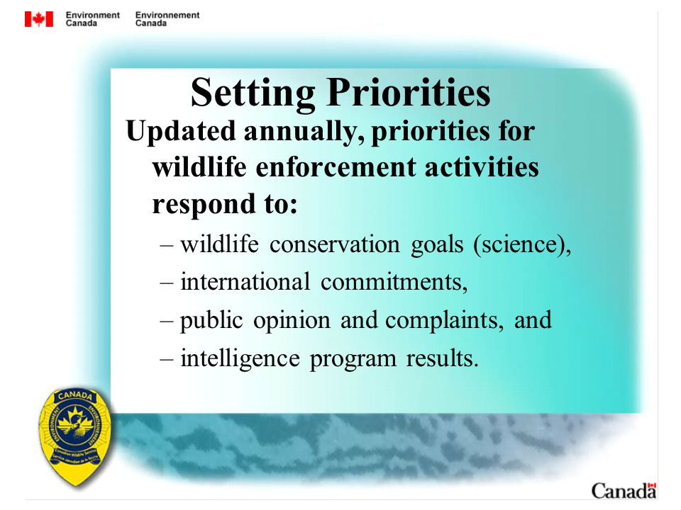 Setting Priorities Updated annually, priorities for wildlife enforcement activities respond to: – wildlife conservation goals (science), – international commitments, – public opinion and complaints, and – intelligence program results.