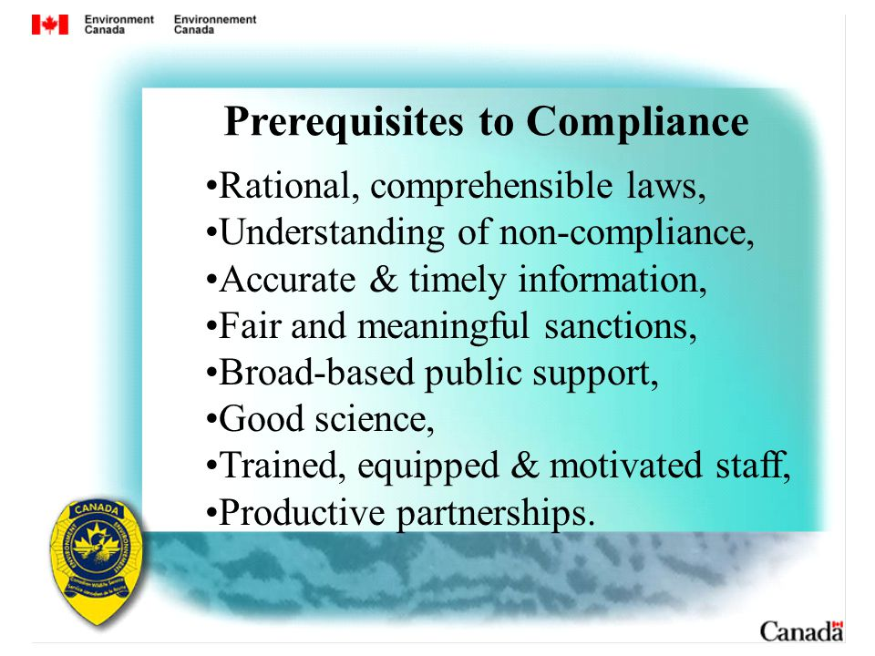 Rational, comprehensible laws, Understanding of non-compliance, Accurate & timely information, Fair and meaningful sanctions, Broad-based public support, Good science, Trained, equipped & motivated staff, Productive partnerships.