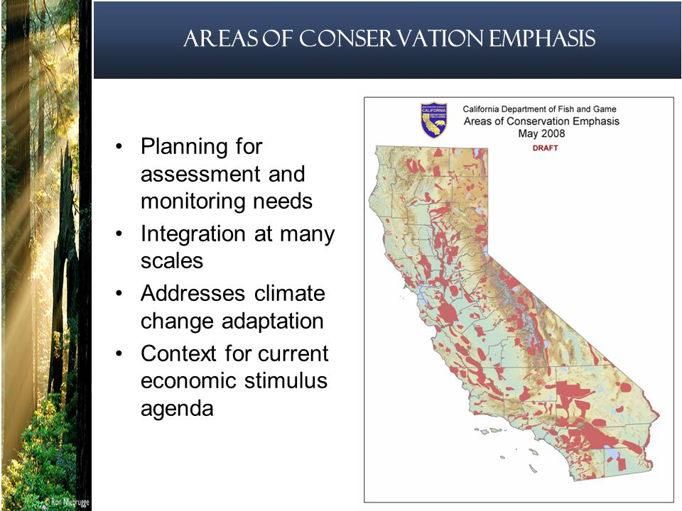 14 Areas of Conservation Emphasis Planning for assessment and monitoring needs Integration at many scales Addresses climate change adaptation Context for current economic stimulus agenda