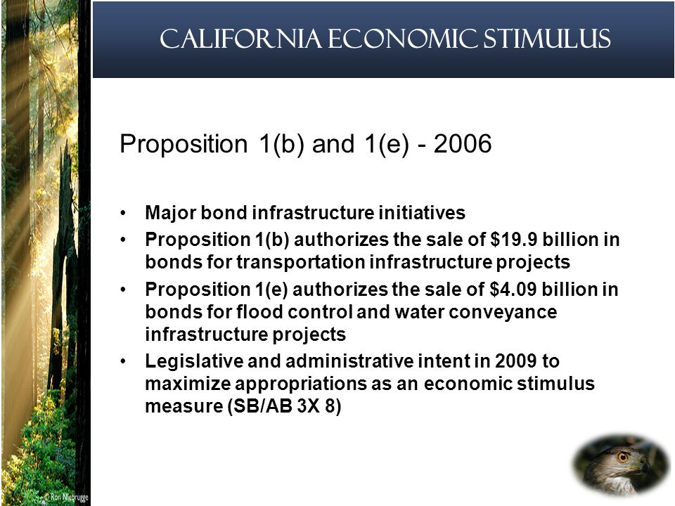 5 California Economic Stimulus Proposition 1(b) and 1(e) Major bond infrastructure initiatives Proposition 1(b) authorizes the sale of $19.9 billion in bonds for transportation infrastructure projects Proposition 1(e) authorizes the sale of $4.09 billion in bonds for flood control and water conveyance infrastructure projects Legislative and administrative intent in 2009 to maximize appropriations as an economic stimulus measure (SB/AB 3X 8)