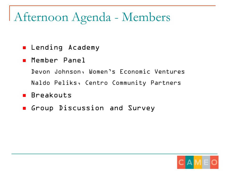 Afternoon Agenda - Members Lending Academy Member Panel Devon Johnson, Women's Economic Ventures Naldo Peliks, Centro Community Partners Breakouts Group Discussion and Survey