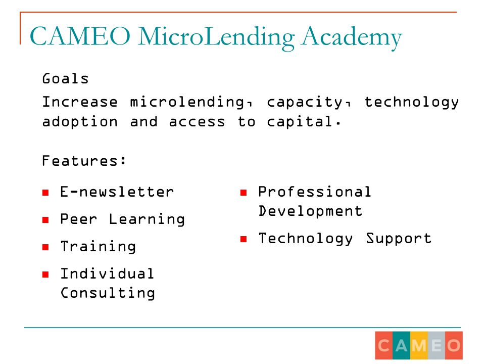 CAMEO MicroLending Academy E-newsletter Peer Learning Training Individual Consulting Professional Development Technology Support Goals Increase microlending, capacity, technology adoption and access to capital.
