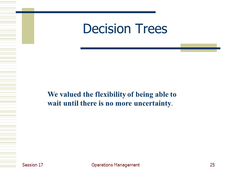 Session 17 Operations Management25 Decision Trees We valued the flexibility of being able to wait until there is no more uncertainty.