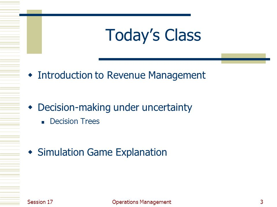 Session 17 Operations Management3 Today's Class  Introduction to Revenue Management  Decision-making under uncertainty Decision Trees  Simulation Game Explanation