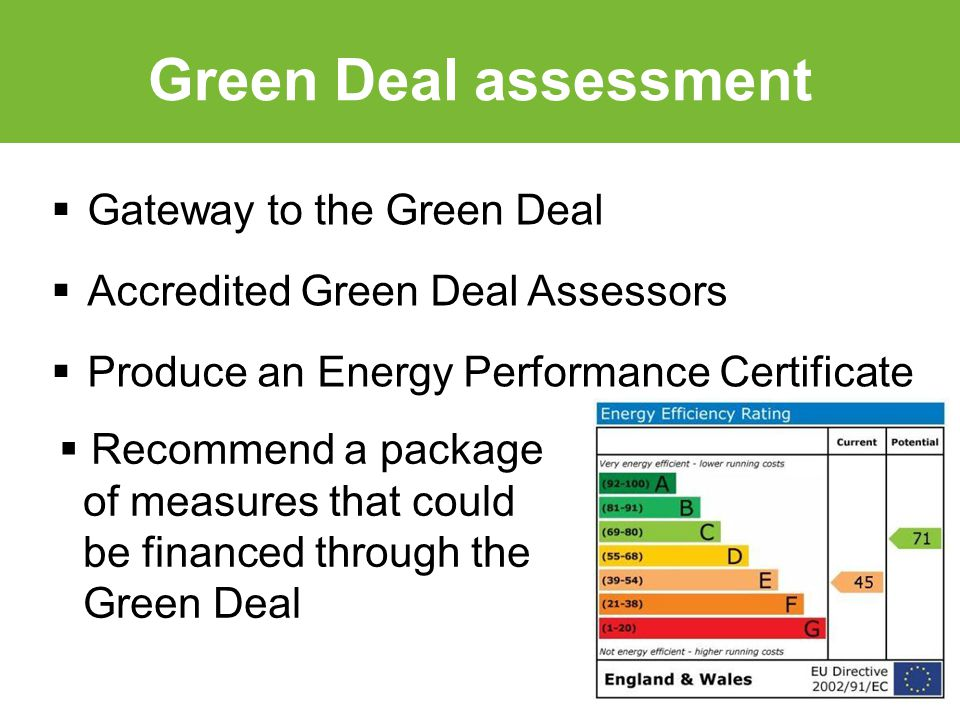  Gateway to the Green Deal  Accredited Green Deal Assessors  Produce an Energy Performance Certificate Green Deal assessment  Recommend a package of measures that could be financed through the Green Deal