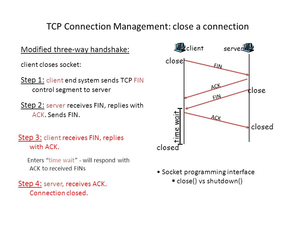 Modified three-way handshake: client closes socket: Step 1: client end system sends TCP FIN control segment to server Step 2: server receives FIN, replies with ACK.