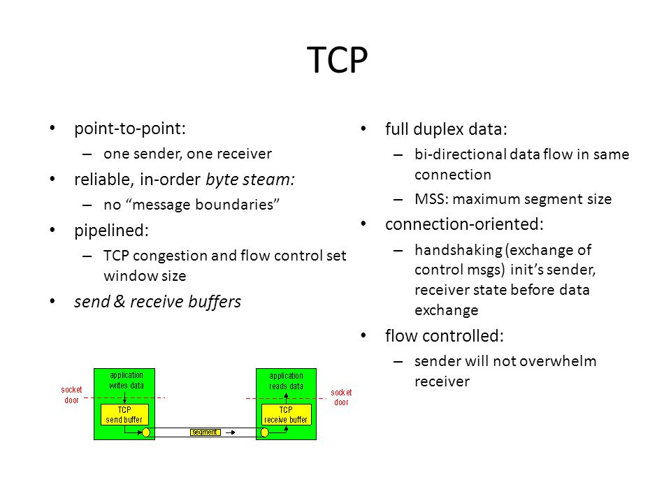 TCP full duplex data: – bi-directional data flow in same connection – MSS: maximum segment size connection-oriented: – handshaking (exchange of control msgs) init's sender, receiver state before data exchange flow controlled: – sender will not overwhelm receiver point-to-point: – one sender, one receiver reliable, in-order byte steam: – no message boundaries pipelined: – TCP congestion and flow control set window size send & receive buffers