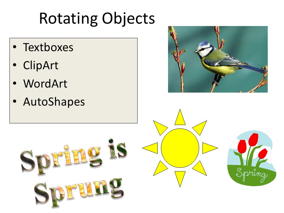 Rotating Objects Textboxes ClipArt WordArt AutoShapes