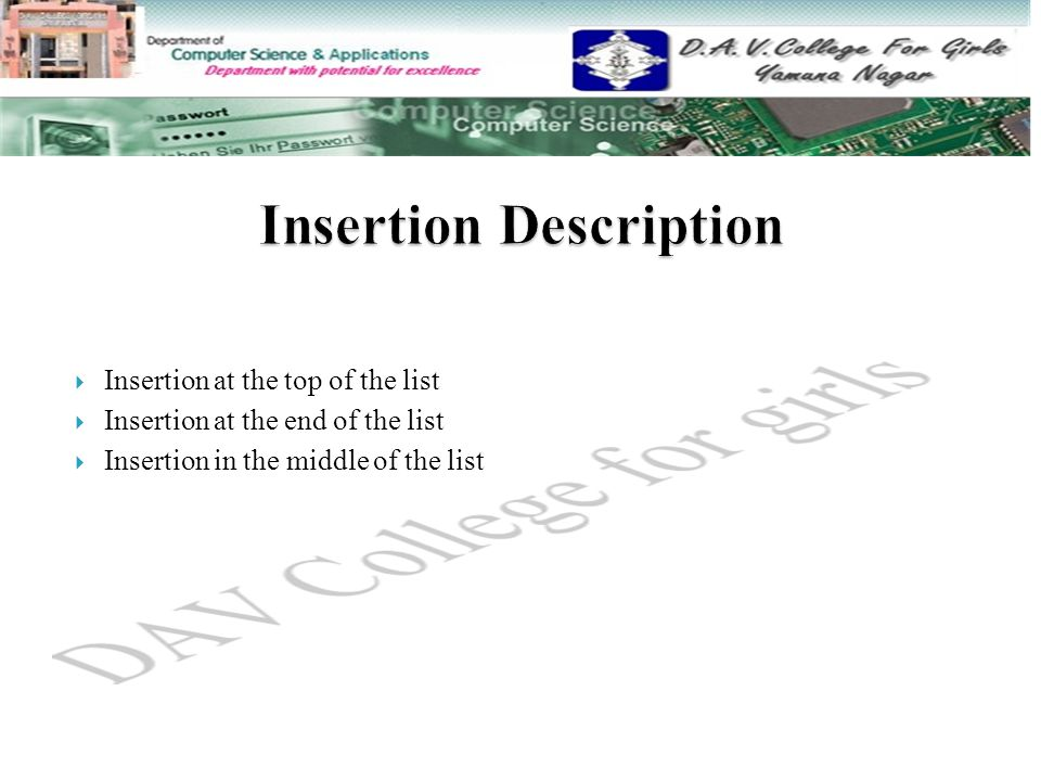  Insertion at the top of the list  Insertion at the end of the list  Insertion in the middle of the list