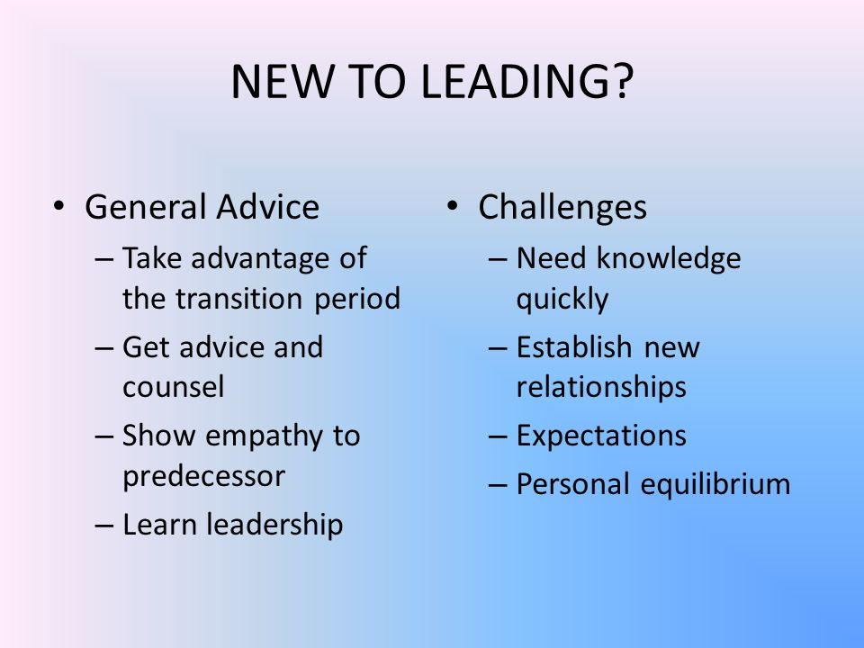 NEW TO LEADING.