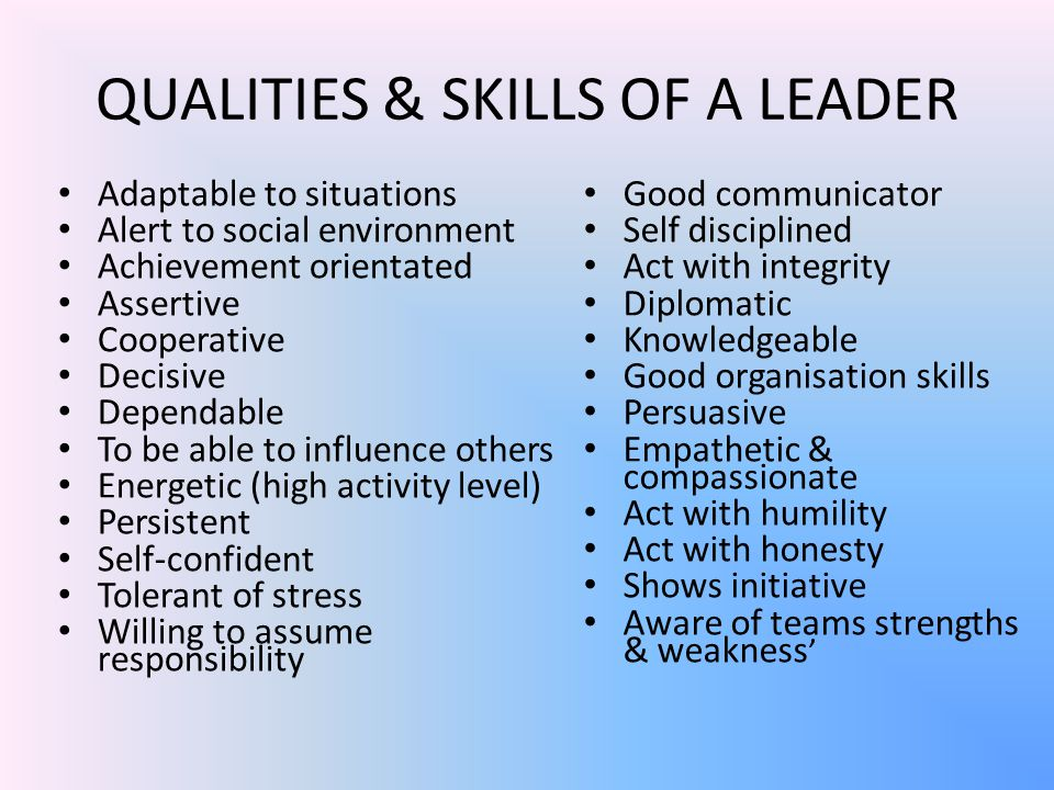 QUALITIES & SKILLS OF A LEADER Adaptable to situations Alert to social environment Achievement orientated Assertive Cooperative Decisive Dependable To be able to influence others Energetic (high activity level) Persistent Self-confident Tolerant of stress Willing to assume responsibility Good communicator Self disciplined Act with integrity Diplomatic Knowledgeable Good organisation skills Persuasive Empathetic & compassionate Act with humility Act with honesty Shows initiative Aware of teams strengths & weakness '