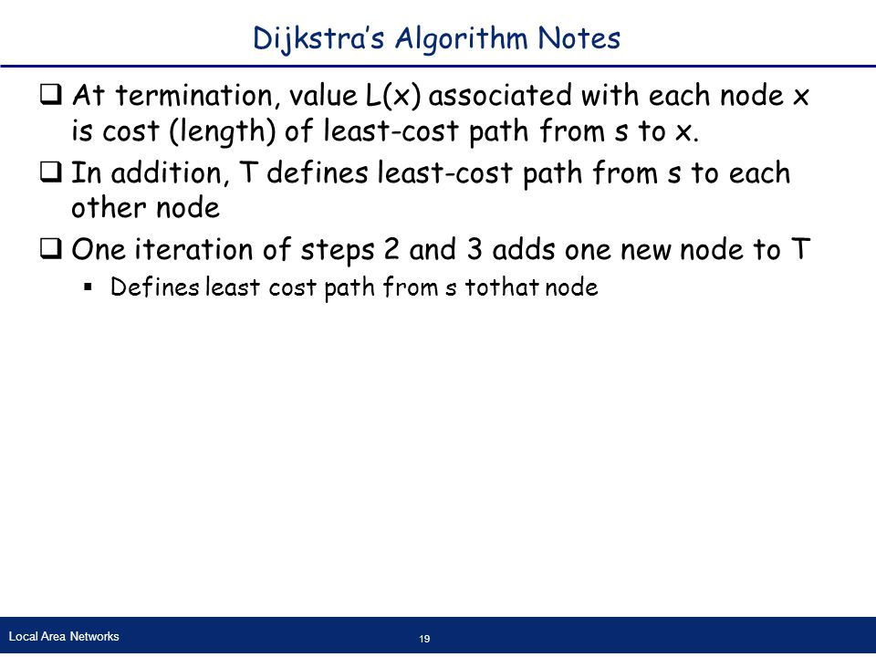 Local Area Networks 19 Dijkstra's Algorithm Notes  At termination, value L(x) associated with each node x is cost (length) of least-cost path from s to x.