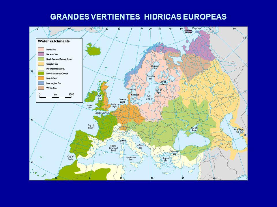 grandes vertientes hidricas europeas caudal medio anual de los rÍos