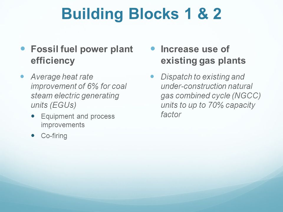 Building Blocks 1 & 2 Fossil fuel power plant efficiency Average heat rate improvement of 6% for coal steam electric generating units (EGUs) Equipment and process improvements Co-firing Increase use of existing gas plants Dispatch to existing and under-construction natural gas combined cycle (NGCC) units to up to 70% capacity factor