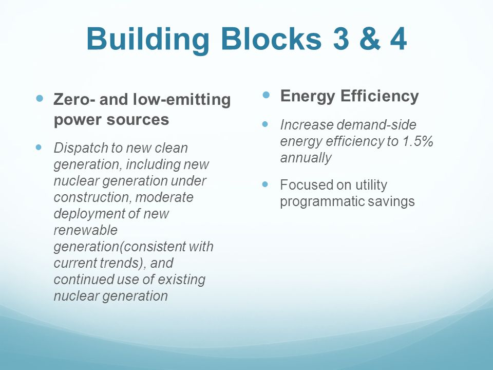 Building Blocks 3 & 4 Zero- and low-emitting power sources Dispatch to new clean generation, including new nuclear generation under construction, moderate deployment of new renewable generation(consistent with current trends), and continued use of existing nuclear generation Energy Efficiency Increase demand-side energy efficiency to 1.5% annually Focused on utility programmatic savings