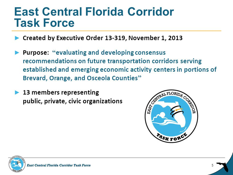 ► Created by Executive Order , November 1, 2013 ► Purpose: evaluating and developing consensus recommendations on future transportation corridors serving established and emerging economic activity centers in portions of Brevard, Orange, and Osceola Counties ► 13 members representing public, private, civic organizations East Central Florida Corridor Task Force 5