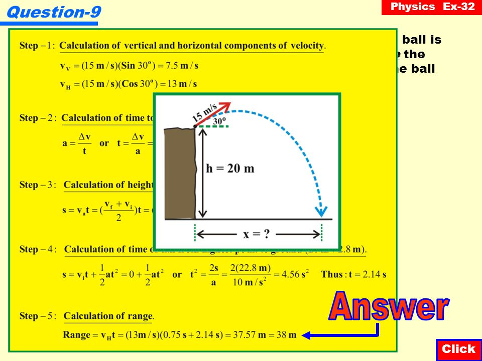 Physics Ex-32 Question-8 Click A cannon ball is fired into the air at an angle of 40 o from the horizontal and rises 5 m.