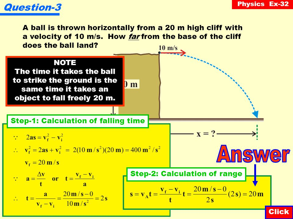 Physics Ex-32 Question-2 Click A stone is dropped from a balcony 20 m high.