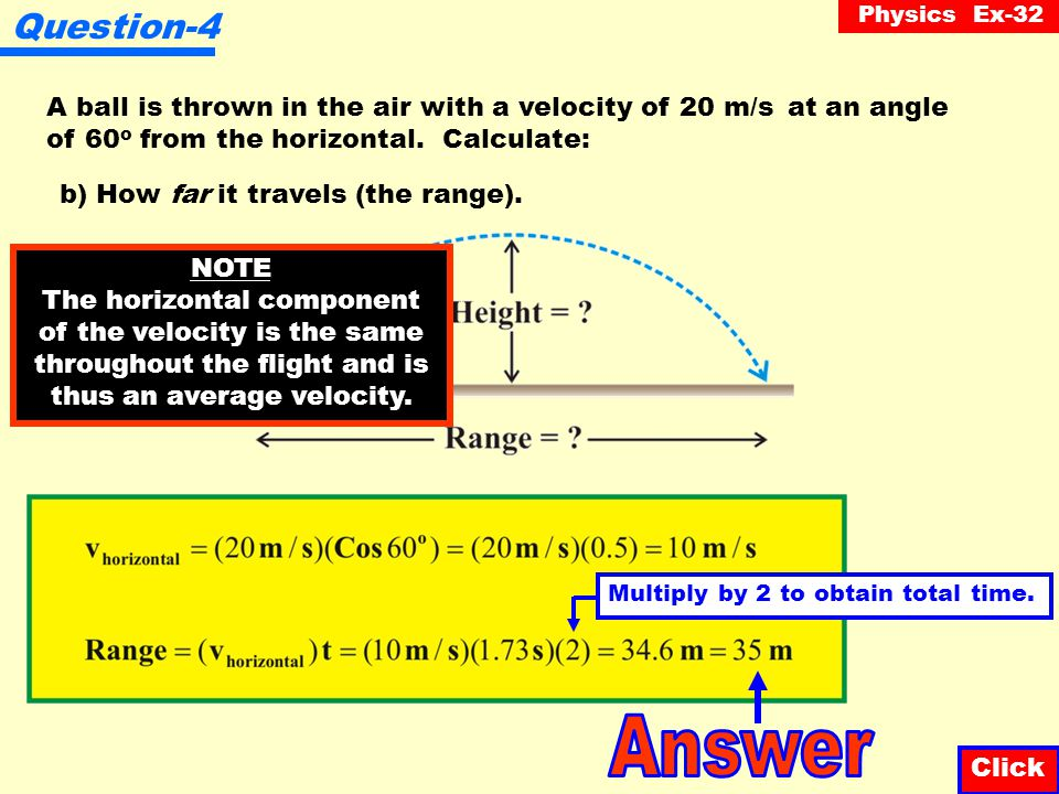 Physics Ex-32 Question-4 Click A ball is thrown in the air with a velocity of 20 m/s at an angle of 60 o from the horizontal.