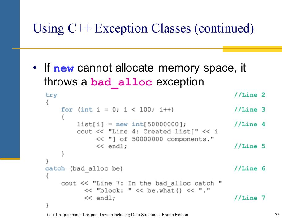 C++ Programming: Program Design Including Data Structures, Fourth Edition32 Using C++ Exception Classes (continued) If new cannot allocate memory space, it throws a bad_alloc exception