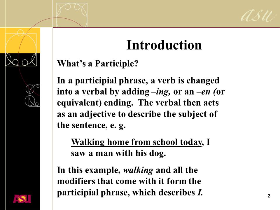 1 Avoiding Dangling Participles Prepared For Classroom Use By Asu