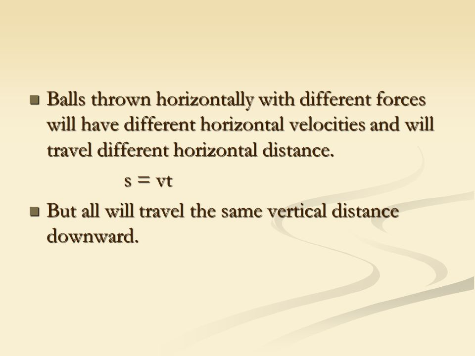Balls thrown horizontally with different forces will have different horizontal velocities and will travel different horizontal distance.