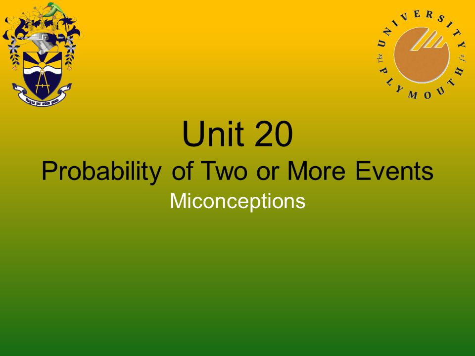 Unit 20 Probability of Two or More Events Miconceptions
