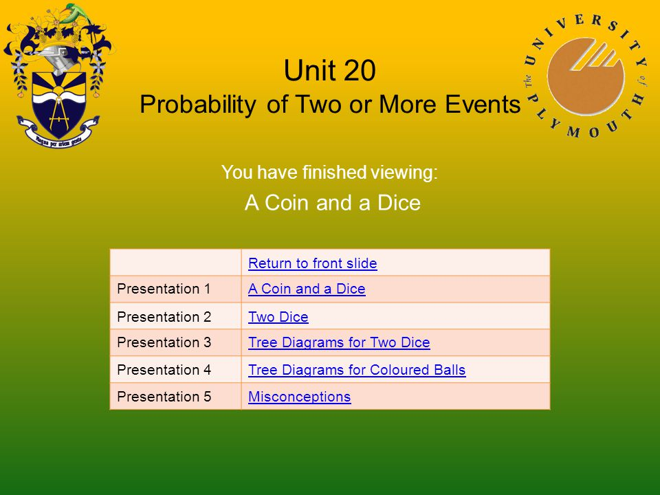 Unit 20 Probability of Two or More Events You have finished viewing: A Coin and a Dice Return to front slide Presentation 1A Coin and a Dice Presentation 2Two Dice Presentation 3Tree Diagrams for Two Dice Presentation 4Tree Diagrams for Coloured Balls Presentation 5Misconceptions