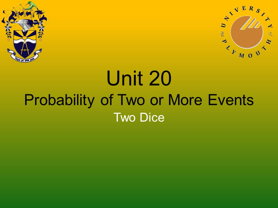 Unit 20 Probability of Two or More Events Two Dice