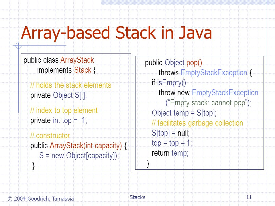 © 2004 Goodrich, Tamassia Stacks11 Array-based Stack in Java public class ArrayStack implements Stack { // holds the stack elements private Object S[ ]; // index to top element private int top = -1; // constructor public ArrayStack(int capacity) { S = new Object[capacity]); } public Object pop() throws EmptyStackException { if isEmpty() throw new EmptyStackException ( Empty stack: cannot pop ); Object temp = S[top]; // facilitates garbage collection S[top] = null; top = top – 1; return temp; }