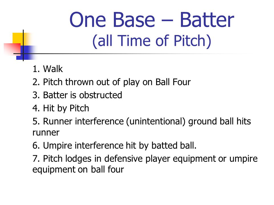 One Base – Batter (all Time of Pitch) 1. Walk 2. Pitch thrown out of play on Ball Four 3.