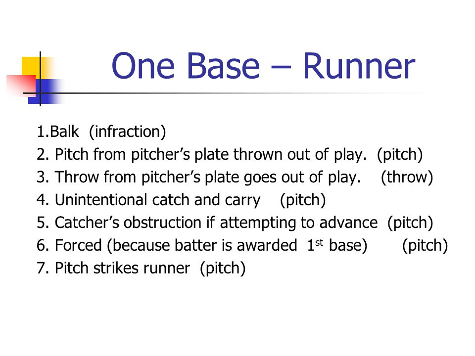 One Base – Runner 1.Balk (infraction) 2. Pitch from pitcher's plate thrown out of play.