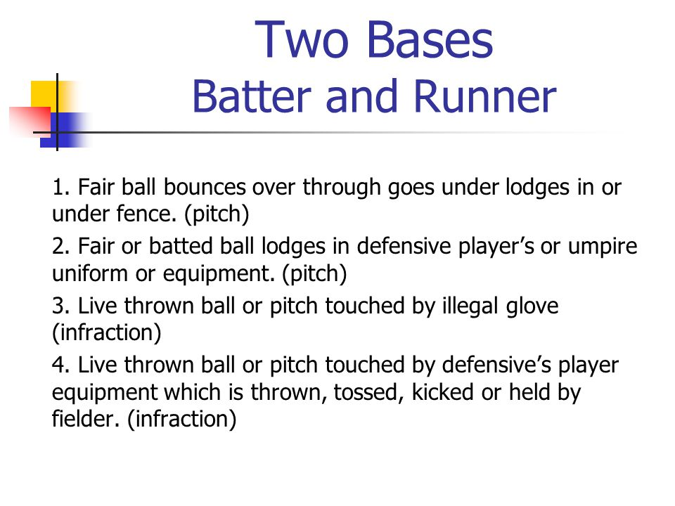 Two Bases Batter and Runner 1. Fair ball bounces over through goes under lodges in or under fence.